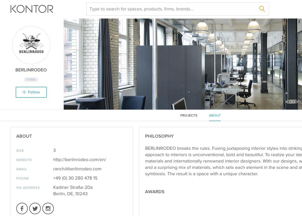 screenshot of BERLINRODEO profile on Kontor